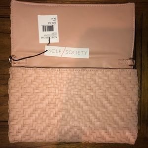 Brand New Sole Society clutch in blush with tags